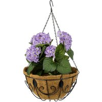 hanging basket, set of 3 flower pots with cococut liners, with chain and hooks, diameter 35 cm, 10 l, brown - Relaxdays