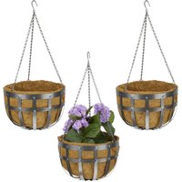 Relaxdays hanging baskets, set of 3, with coco liner, metal