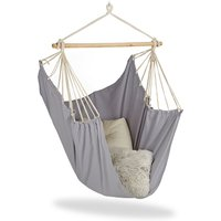 Hanging Chair. Modern Cotton Swing Seat, For Adults and Children, In- and Outdoor Use, Max. 150 Kg, Grey - Relaxdays
