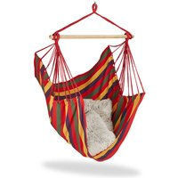 Hanging Chair. Modern Cotton Swing Seat, For Adults and Children, In- and Outdoor Use, Max. 150 Kg, Multi-coloured - Relaxdays