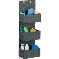 Relaxdays Hanging Wall Organizer, Magazine Rack with 3 Compartments, Plastic, HWD: 75x25x15cm cm, Grey