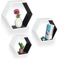 Relaxdays Hexagonal Wall Shelf, Hanging Wooden Bookcase Set of 3, Floating Shelves, Sturdy, MDF, White-Black