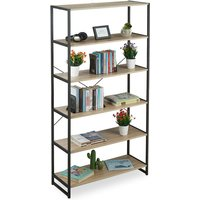 Relaxdays Industrial Shelving Unit, Tall Book Case, Open Style With 6 Shelves, HWD: 180x95x35 cm, PB/Metal, Brown/Black