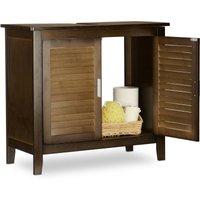 LAMELL Dark Brown Under-Sink Cabinet, Bamboo, Bathroom Basin Cupboard, Storage Unit, HxWxD: 60 x 67 x 30 cm - Relaxdays