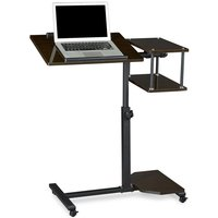 Relaxdays Laptop Desk Height-Adjustable Extra Large Portable Computer Stand 100x77x40cm Notebook Table Sofa Desk Side Table w/ 4 Wheels w/ Brakes for