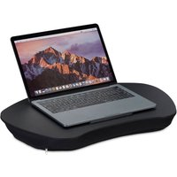 Laptop Stand with Cushion, Wooden Support, Soft Material, Portable, Lap Tray: 52 x 33 cm, Various Colours - Relaxdays