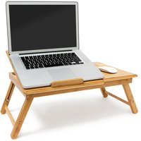 Relaxdays Laptop Table Bed Tray with Adjustable Reading Board Bamboo 30.5 x 72.5 x 35 cm Folding Laptop Stand with Fan, Laptop Stand with Shelf