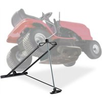 Lawn Mower Jack, 400kg, Maintenance Lifting Tool Ride-On Garden Tractor, Adjustable Tilt/Height, Steel, Black - Relaxdays