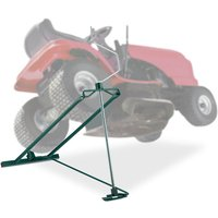 Lawn Mower Jack, 400kg, Maintenance Lifting Tool Ride-On Garden Tractor, Adjustable Tilt/Height, Steel, Green - Relaxdays