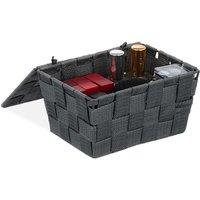 Lidded Storage Basket with Lid, Bathroom Storage, PP, HxWxD: 10.5 x 19.5 x 14.5 cm, Grey - Relaxdays