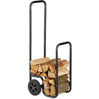Relaxdays Log Cart, Steel Firewood Trolley, With 2 Wheels, Fireplace Wood Transport and Storage, Up To 60 kg, Black