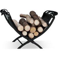 Relaxdays Log Cradle with Tote Bag, Folding, Steel, Magazine Rack, HxWxD: 32 x 43.5 x 32 cm, Black