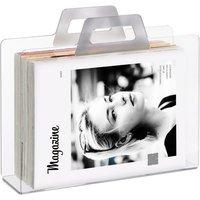 Relaxdays Magazine Rack and Newspaper Basket, Catalogue Holder, 2 Handles, Acrylic, HxWxD 29x33x10cm, Transparent, Silver