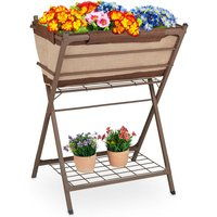 Relaxdays metal planter, raised garden bed on legs, with pre-formed liner, storage shelf, 66.5x50x91 cm (LxWxH), brown
