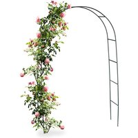 Metal Rose Arch, Growth Support for Climbing Plants, 240 x 140 cm, Dark Green - Relaxdays