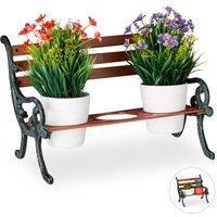Relaxdays Mini Flower Bench, Wood and Cast Iron, Flower Holder for 3 Pots, Garden Decoration, Brown/Grey-Green