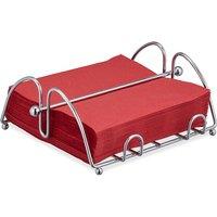 Napkin Holder with Weighted Bar, For 33x33 cm Napkins, Kitchen and Restaurant Serviette Dispenser, Metal, Silver - Relaxdays
