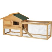 Pet Hutch for Rabbit, Bunny and Guinea Pig, Wooden House and Run, Outdoor Enclosure, 71 x 154 x 51.5 cm, Natural - Relaxdays