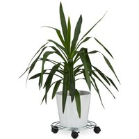 Plant Caddy, with Brakes, Flower Roller, Round, Size: ca 6 x 32 x 32 cm, Silver - Relaxdays