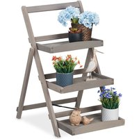 plant stand, 3-tier wooden ladder shelf, herb planter, foldable, indoor and outdoor, 50x64x80 cm (LxWxH), grey - Relaxdays