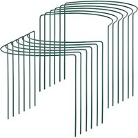 Relaxdays plant support, pack of 12, garden stakes for climbing plants, rose trellis, tomatoes, steel, dark green