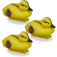 Pond Ducklings, Floating Baby Ducks, Plastic, Waterproof, Water Feature Decoration, Garden, Yellow-Black - Relaxdays