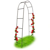 Powder-Coated Steel Rose Arch, Garden Arbour or Trellis, Weather-Proof Support for Climbing Plants, Dark Brown - Relaxdays