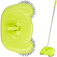 Push Sweeper for Hard Floors and Laminate, Mechanical and Manual Use, Handle 45-97 cm, Versatile, Green - Relaxdays