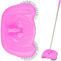 Push Sweeper for Hard Floors and Laminate, Mechanical and Manual Use, Handle 45-97 cm, Versatile, Pink - Relaxdays