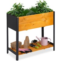 Relaxdays raised planter, garden bed with shelf, outdoor, includes liner, 78x36x72 cm (LxWxH), natural wood and black iron
