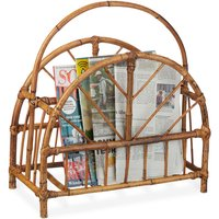 Rattan Newspaper and Magazine Rack, Curved Newspaper Holder, HxWxD: 47 x 43.5 x 20.5 cm, Wooden, Natural - Relaxdays
