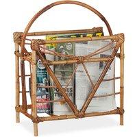 Rattan Newspaper and Magazine Rack, Square Newspaper Holder, HxWxD: 48 x 37.5 x 21.5 cm, Wooden, Natural - Relaxdays