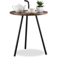 Relaxdays Retro Side Table with Handle, Magazine Tray with Wooden Look, Coffee Table, Metal Legs, Brown