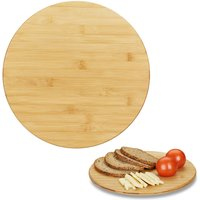 Revolving Bamboo Serving Platter, Round Lazy Susan, 360° Cheese Board, Spices, Snacks and Jams, Ø 32 cm, Natural - Relaxdays