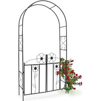 Rose Arch, 228 x 116 x 36.5 cm, Gate made of Powder-Coated Steel, with Door, Leaf Pattern, Climbing Plant Support, Black - Relaxdays