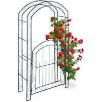 Rose Arch with Gate, Garden Growth Support, Metal Trellis, Weatherproof, HWD 215 x 115 x 43 cm, Green - Relaxdays