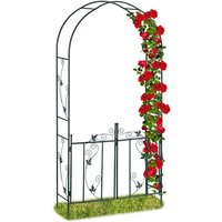 Relaxdays Rose Arch with Gate, Garden Growth Support, Metal Trellis, Weatherproof, HWD 230 x 113.5 x 36.5 cm, Green
