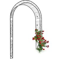 Relaxdays Rose Arch with Leaf Pattern, 226 x 144 x 36.5 cm, Archway as Support for Climbing Plants, Iron, Black