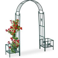 Relaxdays Rose Arch with Planters, Weatherproof, Metal Trellis, Climbers Support, Garden, HWD 226x204x45 cm, Green