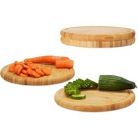 Relaxdays Round Breakfast Board Set of 4, 30 cm, Robust Kitchen Cutting Board, Natural Serving Tray, Chopping, Platter, Round