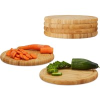Relaxdays Round Breakfast Board Set of 6, 25 cm, Robust Kitchen Cutting Board, Natural Serving Tray, Chopping, Platter, Round