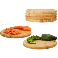 Round Breakfast Board Set of 6, 30 cm, Robust Kitchen Cutting Board, Natural Serving Tray, Chopping, Platter, Round - Relaxdays