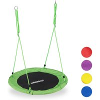 Round Nest Swing for Children and Adults, Adjustable, Ø 90 cm, Spider Web Seat, For up to 100 kg, Green - Relaxdays