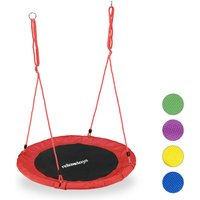 Round Nest Swing for Children and Adults, Adjustable, Ø 90 cm, Spider Web Seat, For up to 100 kg, Red - Relaxdays