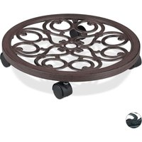 Round Plant Caddy, Metal Flower Pot Roller for Indoors and Outdoors, Antique Look, Ø 38 cm, Brown - Relaxdays