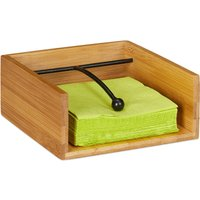 Serviette Holder with Metal Weight Ball, Bamboo, for Napkin Size 25 x 25 cm, Napkin Tray, Natural - Relaxdays