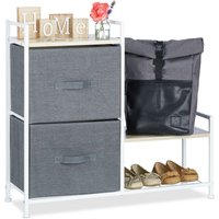 Shelving System, Chest of Drawers, Standing Shelf with Boxes, HxWxD: 76 x 84 x 29 cm, Metal and Wood, Grey - Relaxdays