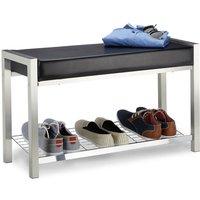 Relaxdays Shoe Rack Metal, Upholstered Seat Shoe Bench, Shoe Storage Drawers H x W x D: 47 x 80 x 31 cm, black