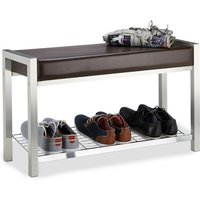 Shoe Rack Metal, Upholstered Seat Shoe Bench, Shoe Storage Drawers H x W x D: 47 x 80 x 31 cm, brownle - Relaxdays