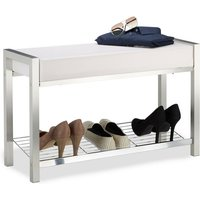 Shoe Rack Metal, Upholstered Seat Shoe Bench, Shoe Storage Drawers H x W x D: 47 x 80 x 31 cm, white - Relaxdays